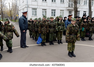 MOSCOW, RUSSIA - OCTOBER 24,2013:Marching parade in the cadet corps of the police.Cadet corps - initial military training school with the full Board to prepare youth for a military career.