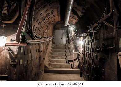 Moscow, Russia - October 25, 2017: Tunnel at Bunker-42, anti-nuclear underground facility built in 1956 as command post of strategic nuclear forces of Soviet Union