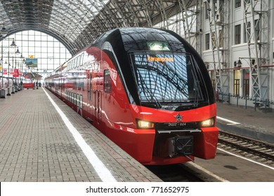 MOSCOW, RUSSIA - October 27 2017: The new Aeroexpress train of the Stadler Kiss Rus model at the Kievskiy railway station in Moscow