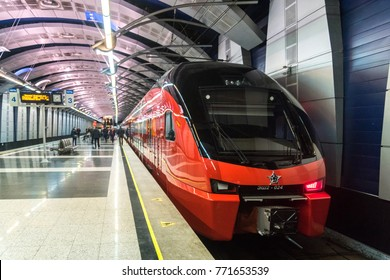 MOSCOW, RUSSIA - October 27 2017: The new Aeroexpress train model Stadler Kiss Rus at the railway station at Vnukovo airport