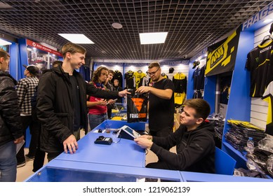 MOSCOW, RUSSIA - OCTOBER 27 2018: EPICENTER Counter Strike: Global Offensive esports event. Brand eSport merchandise and apparel shop: T-Shirts, hoodies of Natus Vincere NaVi team.