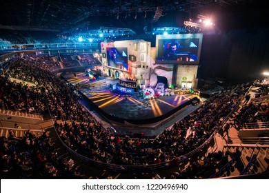 MOSCOW, RUSSIA - OCTOBER 27 2018: EPICENTER Counter Strike: Global Offensive esports event. Main stage venue and tribunes full of visitors and fans. View from the top.