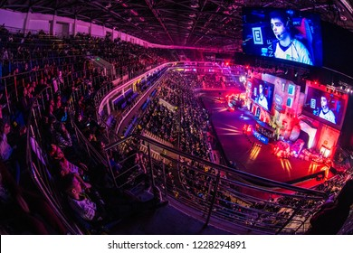 MOSCOW, RUSSIA - OCTOBER 27 2018: EPICENTER Counter Strike: Global Offensive esports event. Colorful main stage venue with lot of illumination and tribunes full of visitors and fans. Overlooking