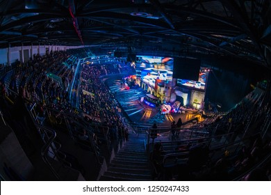 MOSCOW, RUSSIA - OCTOBER 27 2018: EPICENTER Counter Strike: Global Offensive esports event. Main stage with a big screen. Crowd of fans.