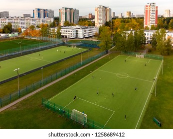 Moscow, Russia - October 29. 2018. City landscape with school and football field in Zelenograd