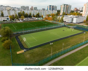 Moscow, Russia - October 29. 2018. landscape with school and football field in Zelenograd