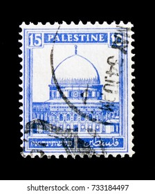 "MOSCOW, RUSSIA - OCTOBER 3, 2017: A stamp printed in Palestinian Territory shows Dome of the Rock, Jerusalem, Definitive Issue ""Pictorials"" 1927 - 1945 serie, circa 1932"