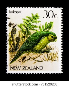 MOSCOW, RUSSIA - OCTOBER 3, 2017: A stamp printed in New Zealand shows Kakapo (Strigops habroptilus), Birds serie, circa 1986