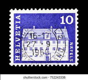 MOSCOW, RUSSIA - OCTOBER 3, 2017: A stamp printed in Switzerland shows Freuler-Palace, Nafels, Postal history motives and monuments serie, circa 1968