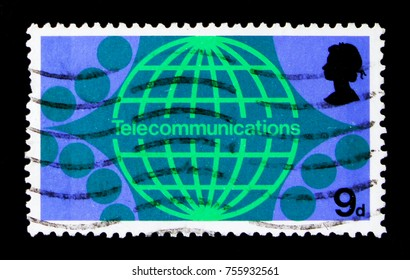 MOSCOW, RUSSIA - OCTOBER 3, 2017: A stamp printed in Great Britain shows Telecommunications - International Subscriber Dialling, Post Office Technology Commemoration serie, circa 1969