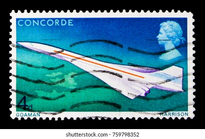 MOSCOW, RUSSIA - OCTOBER 3, 2017: A stamp printed in Great Britain shows Airplane Concorde in Flight, First Flight of the Concorde serie, circa 1969