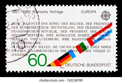MOSCOW, RUSSIA - OCTOBER 3, 2017: A stamp printed in Germany Federal Republic shows C.E.P.T. - Historical events, serie, circa 1982