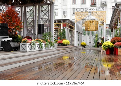 Moscow, Russia, October 4, 2018: the Festival Moscow seasons Golden autumn . The site on Tverskaya street. Harvest holiday, farm market, festive decorations with pumpkins