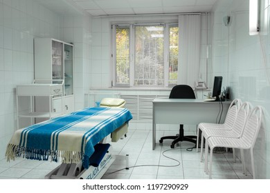 Moscow, Russia - October, 4, 2018: Interior of a massage room in a clinic in Moscow, Russia