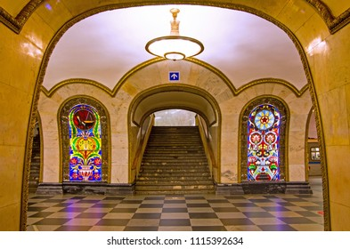 MOSCOW, RUSSIA - OCTOBER 5, 2017: The decoration and stained glass artwork at the Novoslobodskaya Metro Station, Moscow, Russia