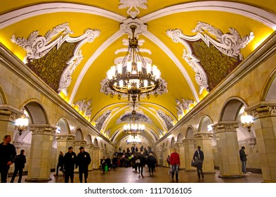 MOSCOW, RUSSIA - OCTOBER 5, 2017: The ceiling artwork and the chandelier in Komsomolskaya Metro Station at Moscow, Russia