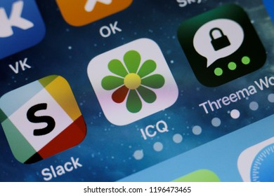 Moscow, Russia -October, 6 2018 The logos of the ICQ, Slack and Threema applications are displayed on the screen of an Apple iPhone