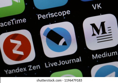 Moscow, Russia -October, 6 2018 The apps of the Yandex Zen, Medium and Live Journal are displayed on the screen of an Apple iPhone