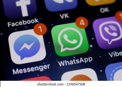 Moscow, Russia - October, 6 2018 The logos of the Facebook messenger and the WhatsApp applications are displayed on the screen of an Apple iPhone