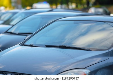 Moscow, Russia - October, 6, 2018: cars on a car parking in Moscow, Russia