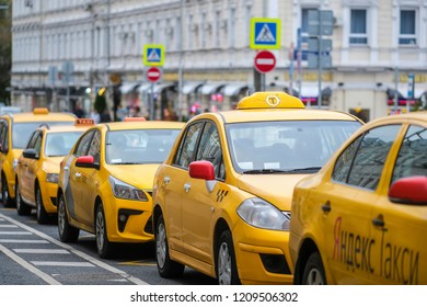 Moscow, Russia - October, 6, 2018: taxi on a car parking in Moscow, Russia