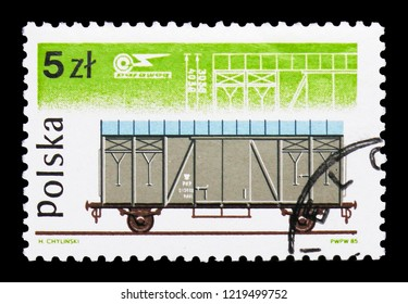 MOSCOW, RUSSIA - OCTOBER 6, 2018: A stamp printed in Poland shows Type 20k goods wagon, Railway Rolling Stock Co. Pafawag serie, circa 1985