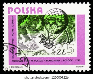 MOSCOW, RUSSIA - OCTOBER 6, 2018: A stamp printed in Poland shows Balloon ascent, 1784, Aviations serie, circa 1984
