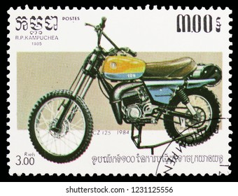 MOSCOW, RUSSIA - OCTOBER 6, 2018: A stamp printed in Kampuchea (Cambodia) shows Cz 125 1984, Motorcycles serie, circa 1985