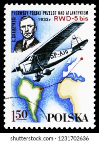 MOSCOW, RUSSIA - OCTOBER 6, 2018: A stamp printed in Poland shows S. Skarzynski, RWD-5 bis over South Atlantic, 1933, Polish Sport Planes serie, circa 1978
