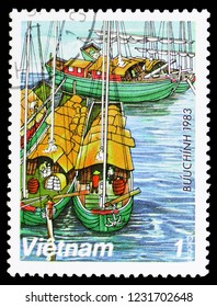 MOSCOW, RUSSIA - OCTOBER 6, 2018: A stamp printed in Vietnam shows Sampans (house boats) on Red River, Sampans serie, circa 1983