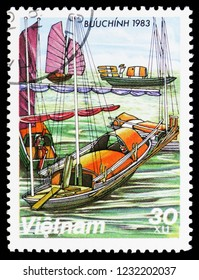 MOSCOW, RUSSIA - OCTOBER 6, 2018: A stamp printed in Vietnam shows Boats on the Mekong, Sampans serie, circa 1983