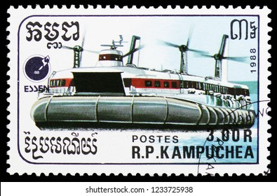 MOSCOW, RUSSIA - OCTOBER 6, 2018: A stamp printed in Kampuchea (Cambodia) shows Hovercraft, Ships serie, circa 1988