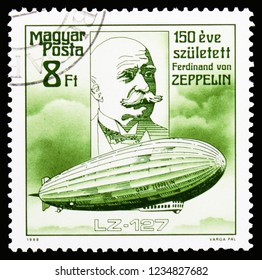 MOSCOW, RUSSIA - OCTOBER 6, 2018: A stamp printed in Hungary shows LZ-127, Graf Zeppelin, Zeppelin serie, circa 1988