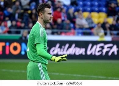 MOSCOW, RUSSIA - OCTOBER 7, 2017. Russian national football team goalkeeper Igor Akinfeev during international friendly match against South Korea at VEB Arena stadium in Moscow.