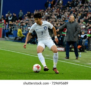 MOSCOW, RUSSIA - OCTOBER 7, 2017. South Korean winger Heung-Min Son during international friendly match Russia vs South Korea at VEB Arena stadium in Moscow.