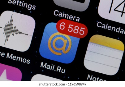 Moscow, Russia - October, 7 2018 The logo of the mail.ru application is  displayed on the screen of an Apple iPhone