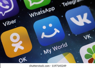 Moscow, Russia - October, 7 2018 The logo of the My World application is  displayed on the screen of an Apple iPhone