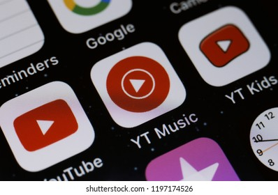 Moscow, Russia - October, 7 2018 The logos of the Youtube applications are displayed on the screen of an Apple iPhone