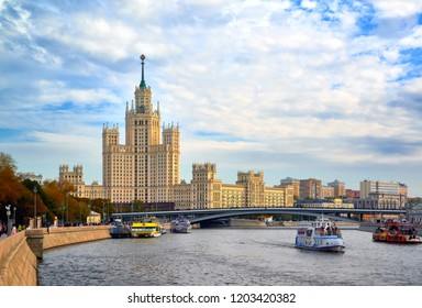 MOSCOW, RUSSIA -October 7, 2018: View on the Moskvoretskaya embankment and high-rise building on the Kotelnicheskaya embankment and Moskva-river. Autumn cityscape