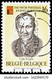 MOSCOW, RUSSIA - OCTOBER 7, 2019: Postage stamp printed in Belgium shows Frans de Troyer, circa 1995