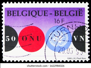 MOSCOW, RUSSIA - OCTOBER 7, 2019: Postage stamp printed in Belgium shows United Nations, UN (United Nations), 50th Anniversary serie, circa 1995