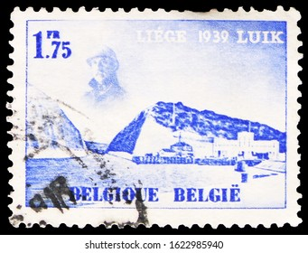 MOSCOW, RUSSIA - OCTOBER 7, 2019: Postage stamp printed in Belgium shows Water exhibition, serie, 1.75 fr - Belgian franc, circa 1938