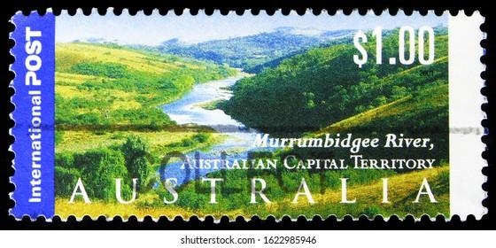 MOSCOW, RUSSIA - OCTOBER 7, 2019: Postage stamp printed in Australia shows Murrumbidgee River, Australian Capital Territory, International serie, circa 2001
