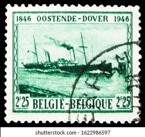 MOSCOW, RUSSIA - OCTOBER 7, 2019: Postage stamp printed in Belgium shows Shipconnection Oostende-Dover, serie, circa 1946
