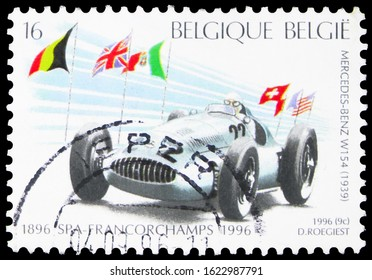 MOSCOW, RUSSIA - OCTOBER 7, 2019: Postage stamp printed in Belgium shows Francochamps - Mercedes Benz W154 ( 1939), Car races Spa serie, circa 1996