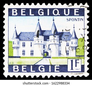 MOSCOW, RUSSIA - OCTOBER 7, 2019: Postage stamp printed in Belgium shows Castle Spontin, Tourism serie, circa 1967