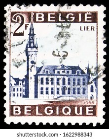 MOSCOW, RUSSIA - OCTOBER 7, 2019: Postage stamp printed in Belgium shows Lier, Tourism serie, circa 1966