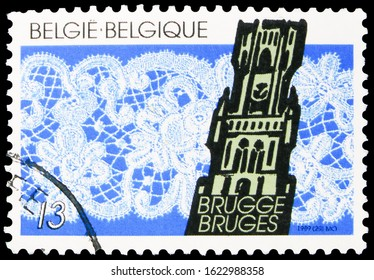 MOSCOW, RUSSIA - OCTOBER 7, 2019: Postage stamp printed in Belgium shows Lace, serie, 13 fr - Belgian franc, circa 1989