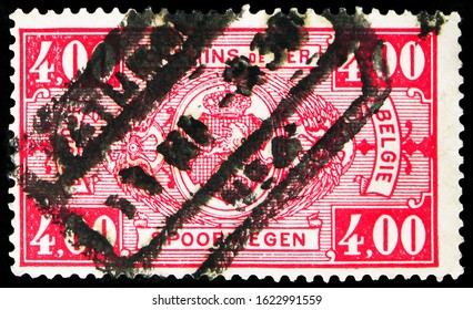MOSCOW, RUSSIA - OCTOBER 7, 2019: Postage stamp printed in Belgium shows Railway Stamp: Coat of Arms, Value in Rectangle, First Issue, serie, circa 1923