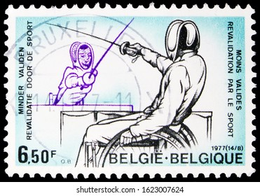 MOSCOW, RUSSIA - OCTOBER 7, 2019: Postage stamp printed in Belgium shows Rehabilitation by sport, Fencing handisport, Sport serie, circa 1977